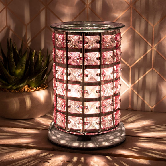 Crystal Touch Sensitive Silver and Pink Aroma Lamp