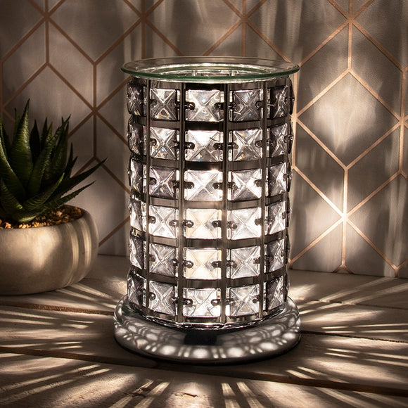 Crystal Touch Sensitive Silver and Black Aroma Lamp