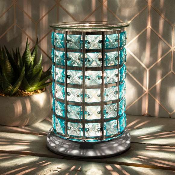 Crystal Touch Sensitive Silver and Teal Aroma Lamp