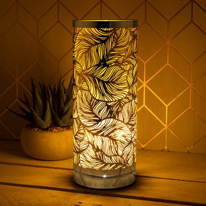 Leaf Touch Sensitive Aroma Lamp - Amber And Silver 26cm