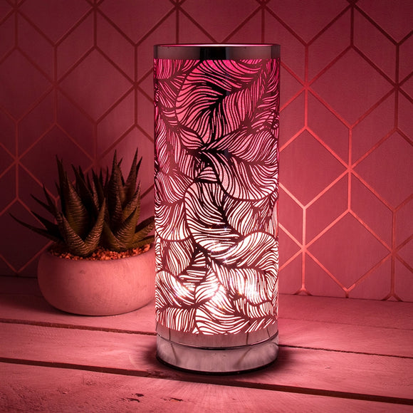 Leaf Touch Sensitive Aroma Lamp In Pink And Silver 26cm