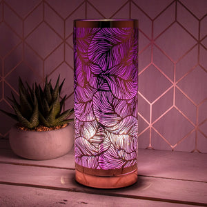 DUE FEBRUARY Leaf Touch Sensitive Aroma Lamp In Purple And Rose Gold 26cm
