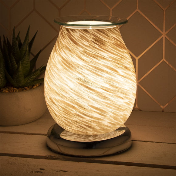 Touch Sensitive Round Aroma Lamp - White And Gold Marble