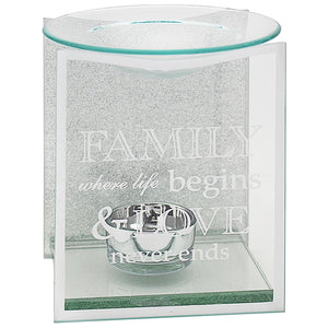 DUE OCTOBER-Silver Glitter Family Sentiments Oil Burner