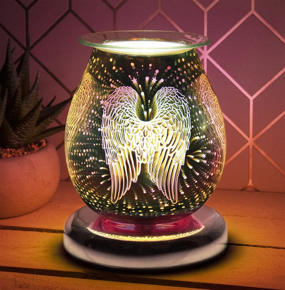 Touch Sensitive Round Aroma Lamp - Guardian Angel Wings