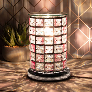 Crystal Touch Sensitive Aroma Lamp - Chequered Pink