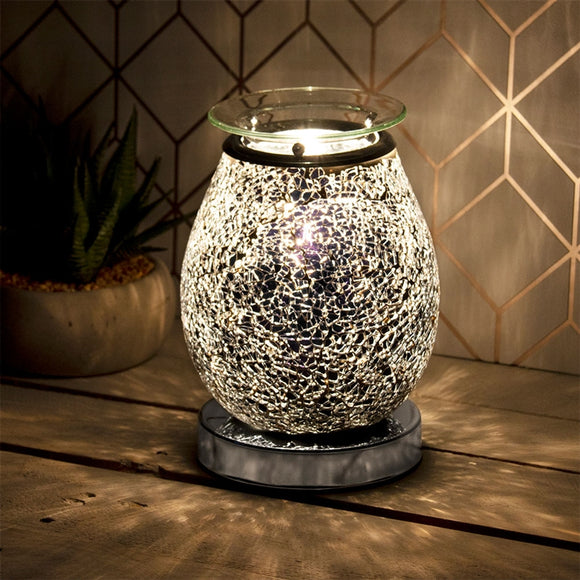 DUE FEB RETURNING NEXT YEAR Glass Mosaic Touch Aroma Lamp - Black