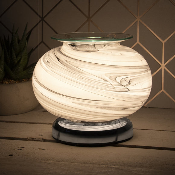 DUE FEBRUARY Touch Sensitive Wide Glass Aroma Lamp - Grey Marble