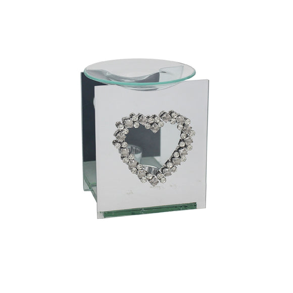 Mirror Diamante Oil Burner Heart