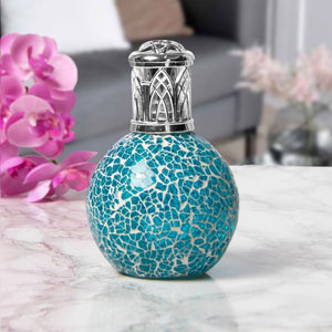 DUE DECEMBER Glass Mosaic Fragrance Lamp - Teal