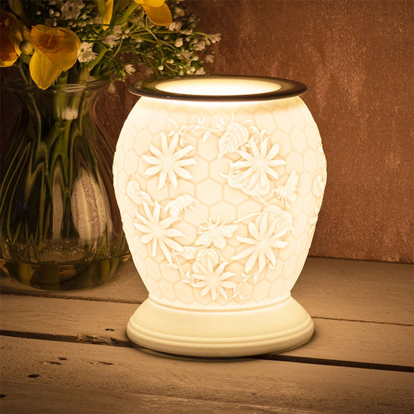 DUE FEBRUARY Large Porcelain Etched Aroma Lamp - Honeycomb