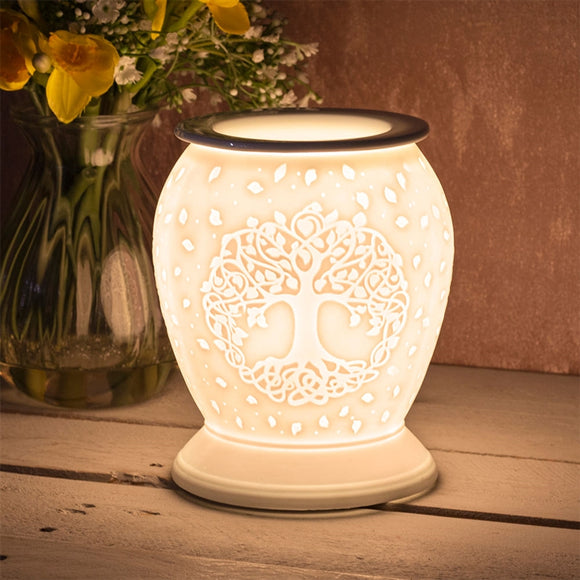 DUE FEBRUARY Large Porcelain Etched Aroma Lamp - Tree of Life