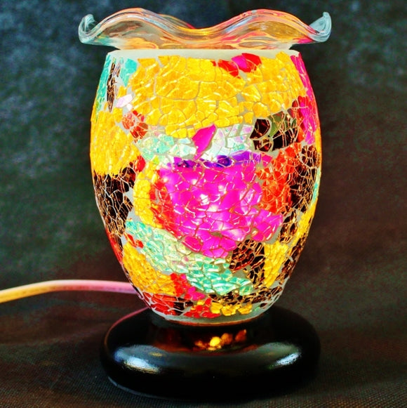 Dimmable Glass Mosaic Aroma Lamp with Wavy Dish - Diana