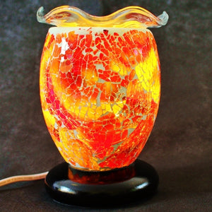 Dimmable Glass Mosaic Aroma Lamp with Wavy Dish - Magma