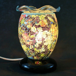 Dimmable Glass Mosaic Aroma Lamp with Wavy Dish - Fortuna