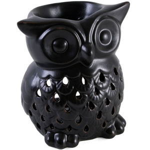 Ceramic Black Owl Wax Melter / Oil Burner 10cm