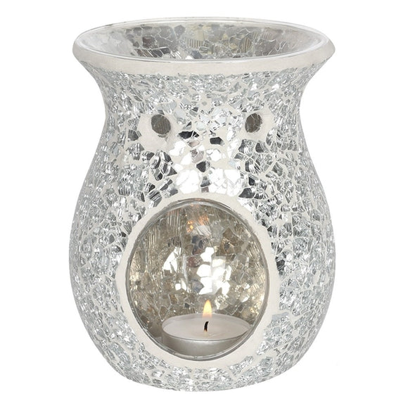 Large Round Silver Mosaic Crackle Melt / Oil Burner 14cm