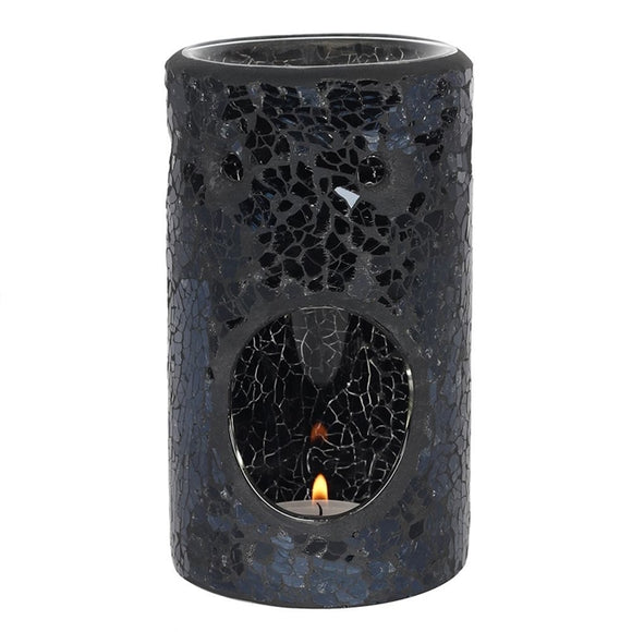 Black Crackle Pillar Melt / Oil Burner 14cm