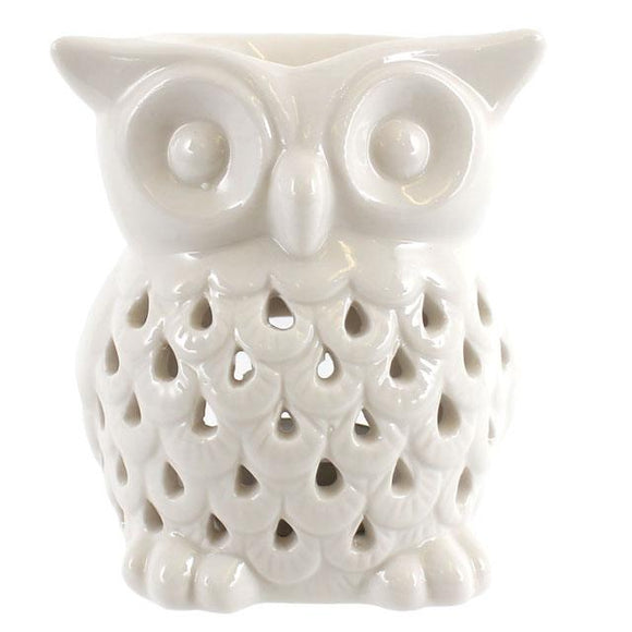 LP46890 White Ceramic Owl Burner 11cm