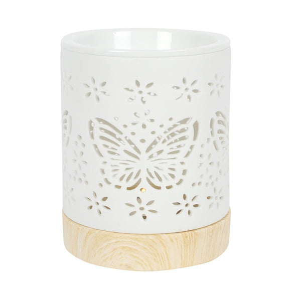 Ceramic Butterfly Cut Out Wax Melter / Oil Burner 12cm