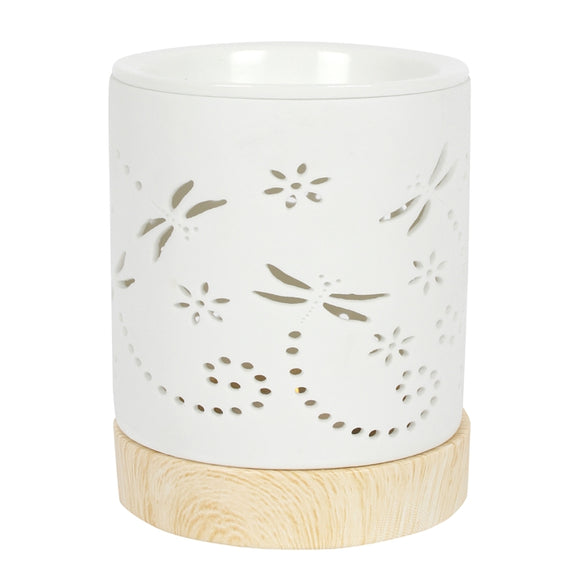 Ceramic Dragonfly Cut Out Wax Melter / Oil Burner 12cm
