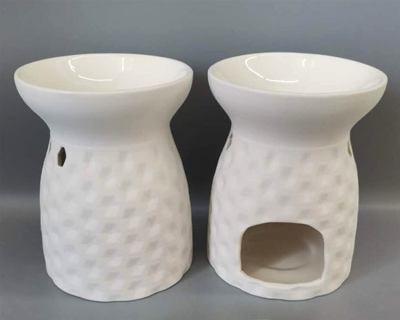 White Honeycomb Matte Ceramic Burner 12.5cm