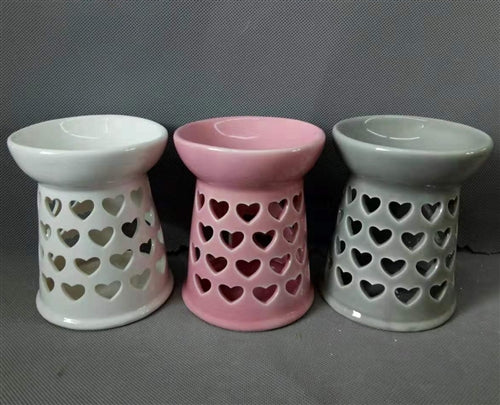 Large Ceramic Hearts Wax Melter - White