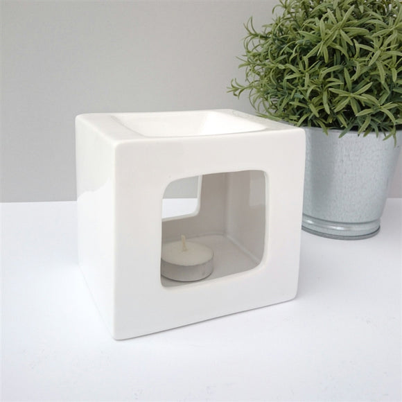 Cubic Ceramic Wax Melter - White