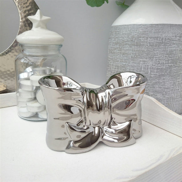 Bow Double Ceramic Wax Melter - Silver