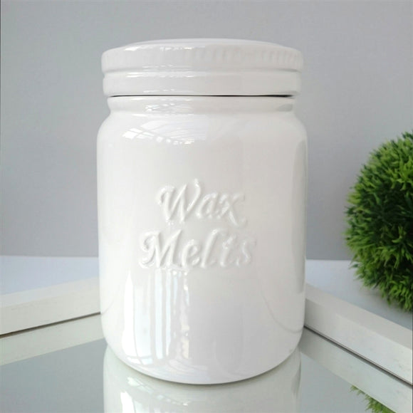 Ceramic Wax Melts Storage Jar - White