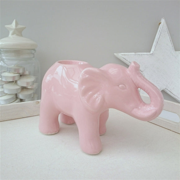 DUE JUNE Large Elephant Ceramic Wax Melter - Pink