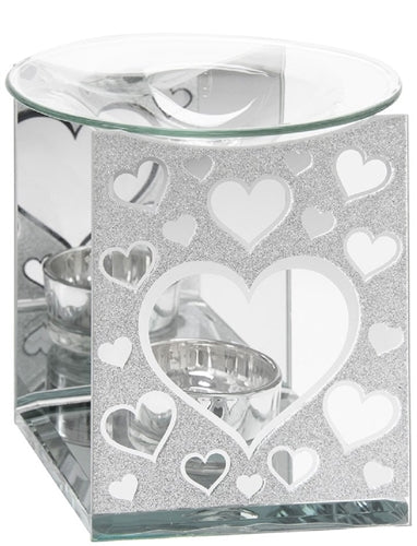 Silver Glitter Hearts Glass Wax Melter / Oil Burner (x24)