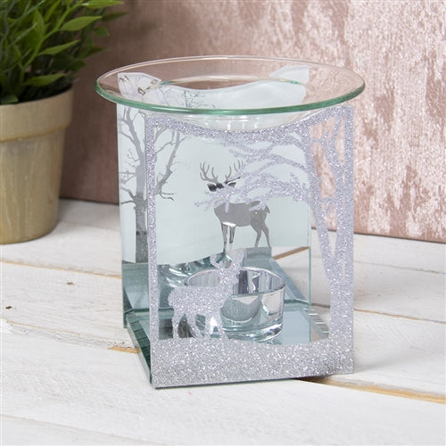 DUE END SEPTEMBER Silver Glitter Reindeer Glass Wax Melter / Oil Burner
