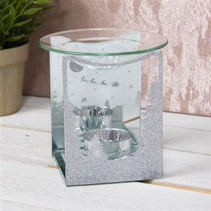 DUE END SEPTEMBER Silver Glitter Winter Wonderland Glass Wax Melter / Oil Burner