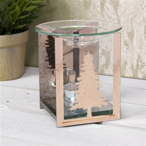 DISPATCHED AFTER 2ND OCTOBER Rosegold Fir Tree Glass Wax Melter / Oil Burner