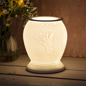 DUE END DECEMBER Large Porcelain Etched Aroma Lamp - Fairy Make a Wish