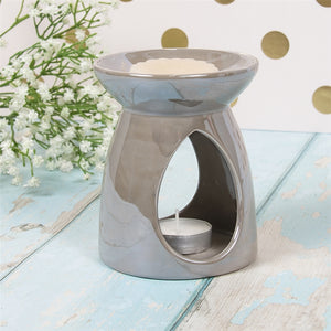 DUE LATE APRIL Pealised Effect Ceramic Oil Burner/Wax Melter 11cm - Taupe/Off-Grey