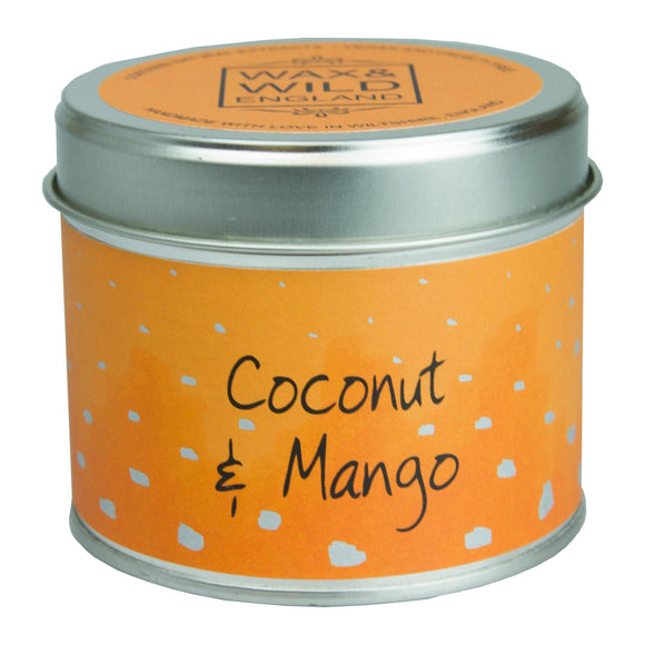 Wax & Wild Candle in Tin - Coconut & Mango