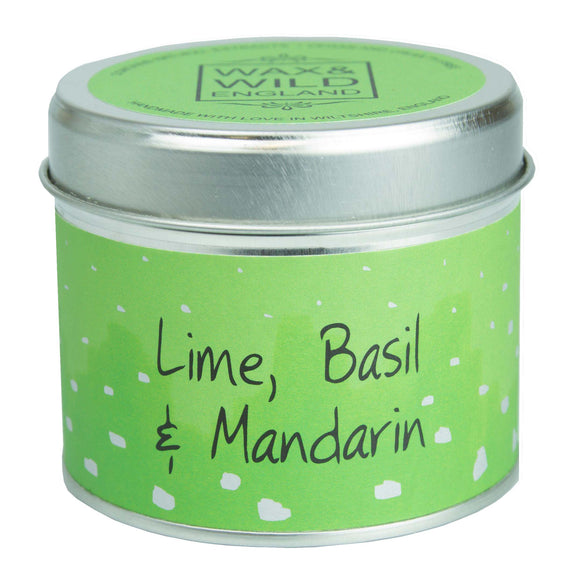 Wax & Wild Candle in Tin - Lime, Basil & Mandarin
