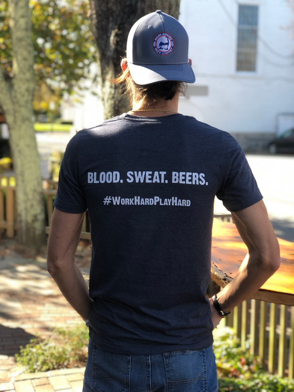 Wash Ashore Beer Company Blood Sweat Beers Unisex Navy T-Shirt