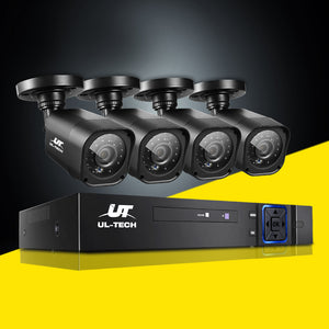 UL-TECH 4CH 5 IN 1 DVR CCTV Security System Video Recorder 4 Cameras 1080P HDMI Black,Audio & Video > CCTV - Yochi Tech