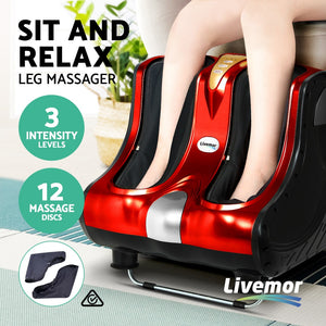 Livemor Foot Massager Shiatsu Ankle Calf Leg Massagers Circulation Enhancer Machine Red,Health & Beauty > Massage - Yochi Tech