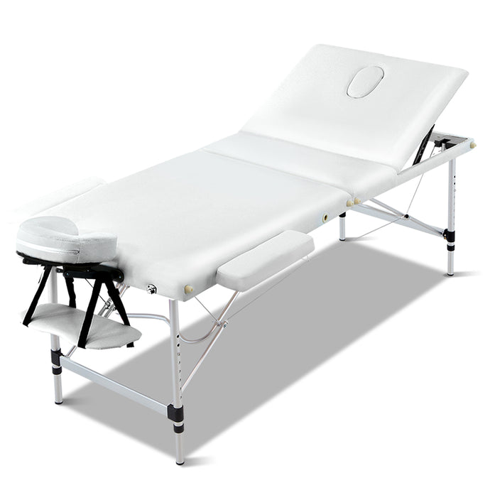 Zenses 3 Fold Portable Aluminium Massage Table - White,Health & Beauty > Massage - Yochi Tech