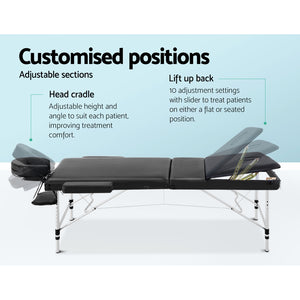 Zenses 70cm Wide Portable Aluminium Massage Table 3 Fold Treatment Beauty Therapy Black,Health & Beauty > Massage - Yochi Tech
