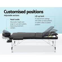 Load image into Gallery viewer, Zenses 3 Fold Portable Aluminium Massage Table - Black,Health & Beauty > Massage - Yochi Tech