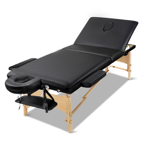 Zenses 60cm Wide Portable Wooden Massage Table 3 Fold Treatment Beauty Therapy Black,Health & Beauty > Massage - Yochi Tech