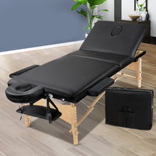 Load image into Gallery viewer, Zenses 75cm Wide Portable Wooden Massage Table 3 Fold Treatment Beauty Therapy Black,Health & Beauty > Massage - Yochi Tech