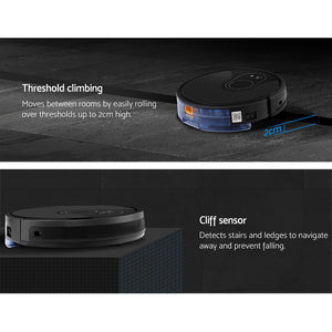 Robot Vacuum Cleaner Smart Robotic Carpet Mop Floor Dry Wet Brushless Motor Black,Appliances > Vacuum Cleaners - Yochi Tech