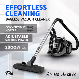 Bagless Cyclone Cyclonic Vacuum Cleaner - Black,Appliances > Vacuum Cleaners - Yochi Tech