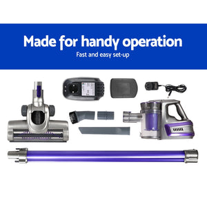 Devanti 150 Cordless Handheld Stick Vacuum Cleaner 2 Speed   Purple And Grey,Appliances > Vacuum Cleaners - Yochi Tech